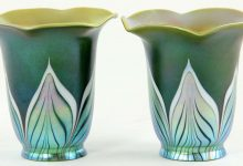 Platinum Pulled Feather on Green Iridescent, Set of 2
