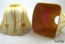 Fostoria 4 sided shade Antique Art Glass Shade, Howard Kwan