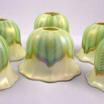 Quezal Ribbed Green Pulled Feather Antique Art Glass Shade, Howard Kwan