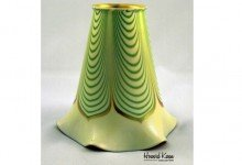 Steuben Green Pulled Feather Antique Art Glass Shade, Howard Kwan